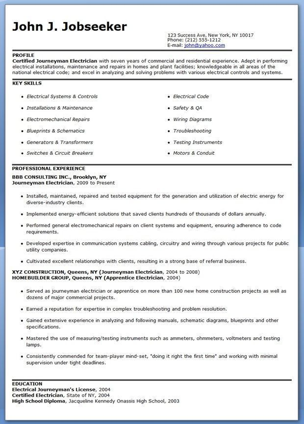 Journeyman Electrician Resume Sample  Monstercom