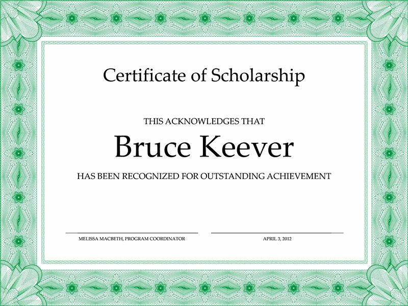 Certificate of Scholarship (formal green border) - Office Templates