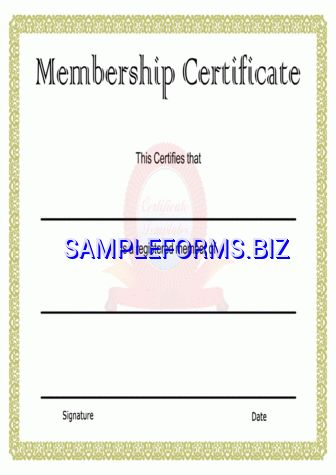 Membership Certificate templates & samples forms