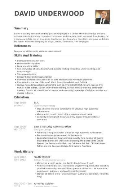 Youth Worker Resume samples - VisualCV resume samples database