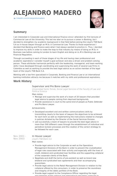 Lawyer Resume samples - VisualCV resume samples database
