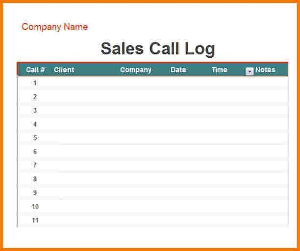 Sales Call Log Template | Template Design