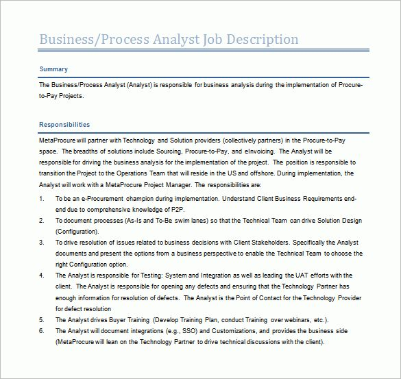 11+ Business Analyst Job Description Templates – Free Sample ...