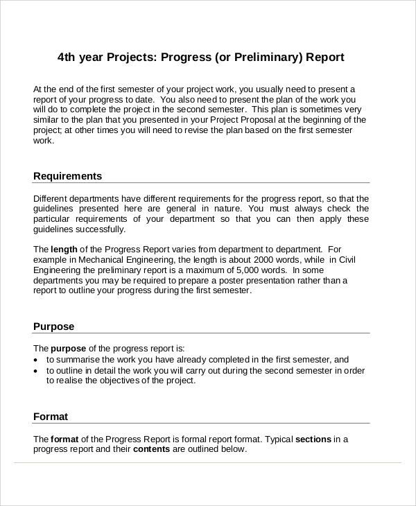 Sample Project Progress Report - 7+ Examples in PDF, Word