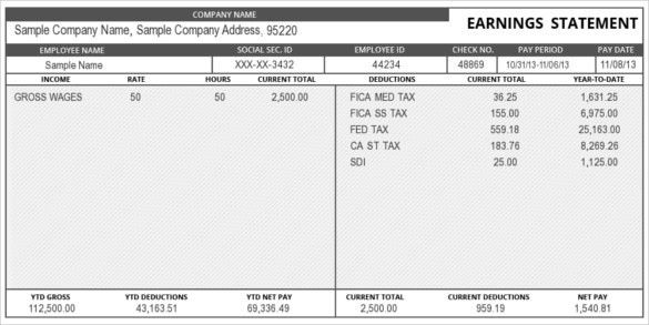 Free Pay Stub Template | ebook