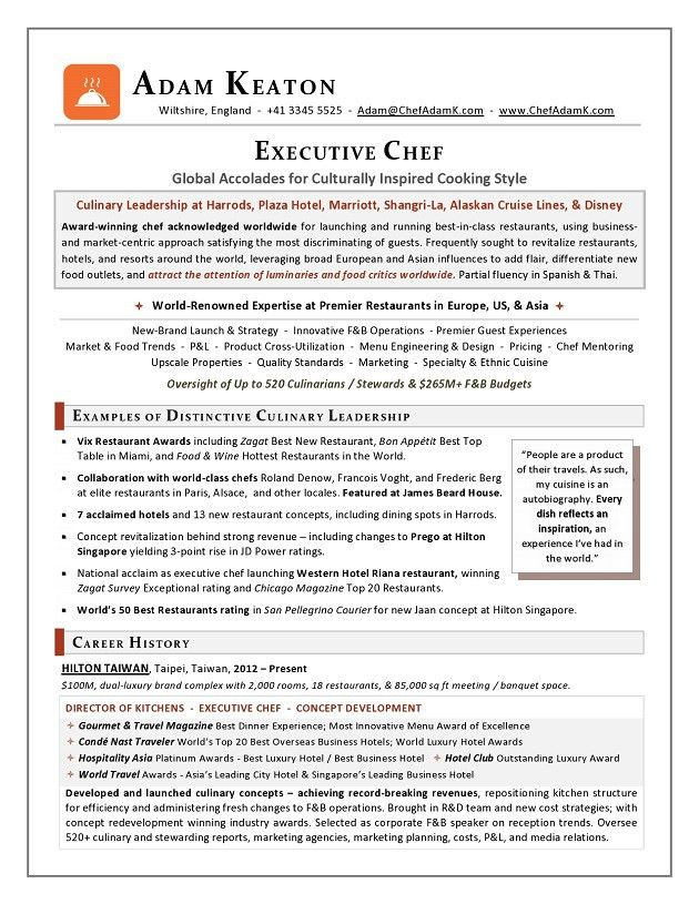 Award-Nominated Executive Chef Sample Resume - Executive resume ...