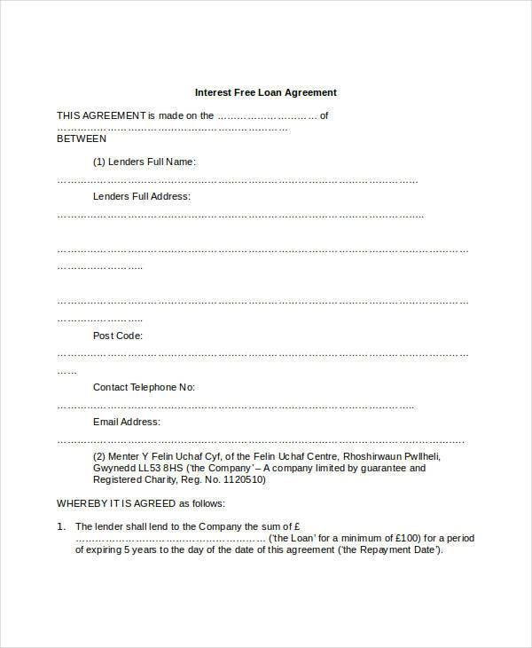 Loan Agreement Form - 9+ Free PDF Documents Download | Free ...