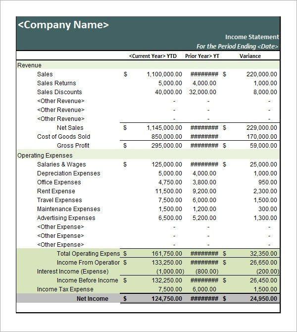 Sample Income Statement Template. Incomestatement Jpg An Income ...