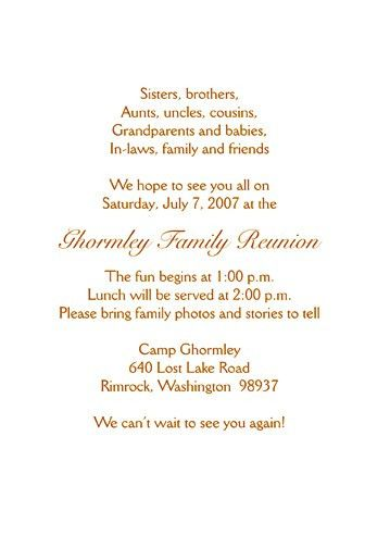 Family Reunion Invitation - Style fr-s2b