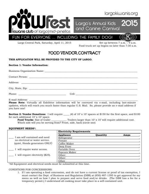 FlipSnack - Pawfest 2015 Food Vendor Contract by Kate