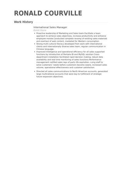 International Sales Manager Resume samples - VisualCV resume ...