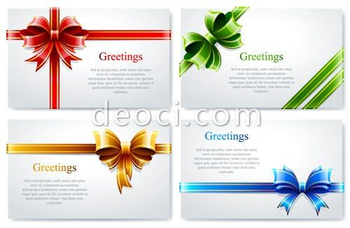 Free 4 colorful gift card background design template bow ...