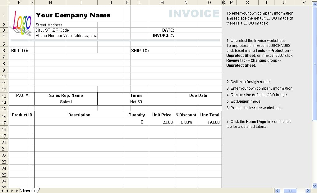 Template with Discount Percentage Column - Uniform Invoice Software