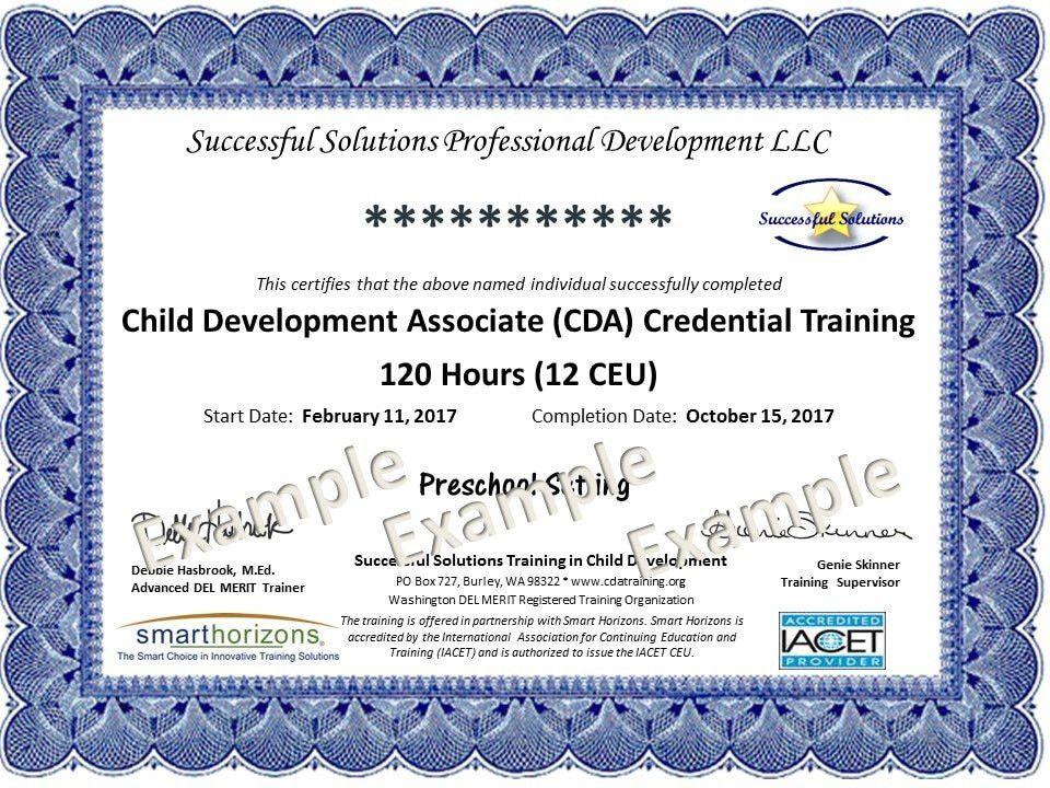 Example CDA Training Certificate - Successful Solutions Training ...