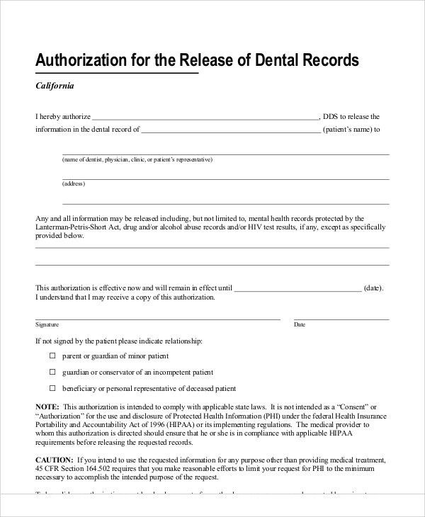 Sample Dental Release Form - 11+ Examples in Word, PDF