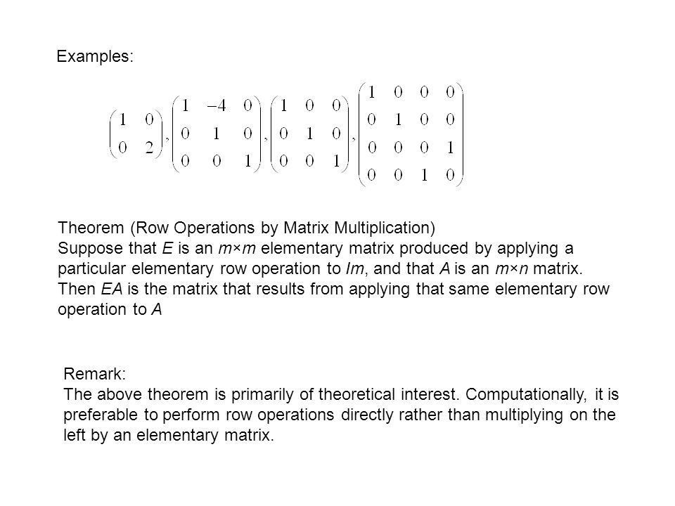 1.5 Elementary Matrices and a Method for Finding - ppt download