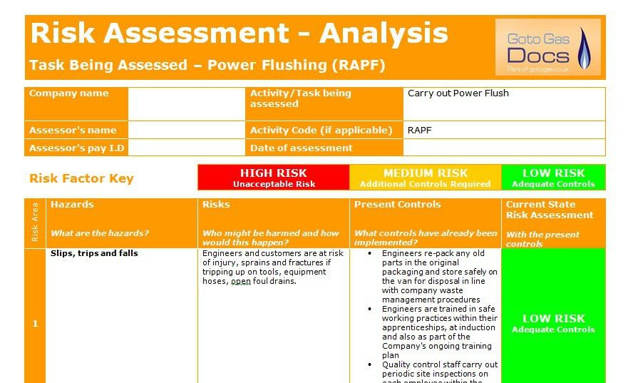 Forms: Risk Assessment - Power Flush