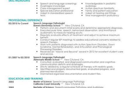 Speech Therapist Resume Sample   Reentrycorps  Speech Therapist Resume