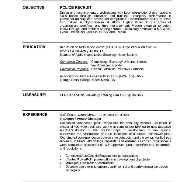 Police Officer Resume Template - cv01.billybullock.us