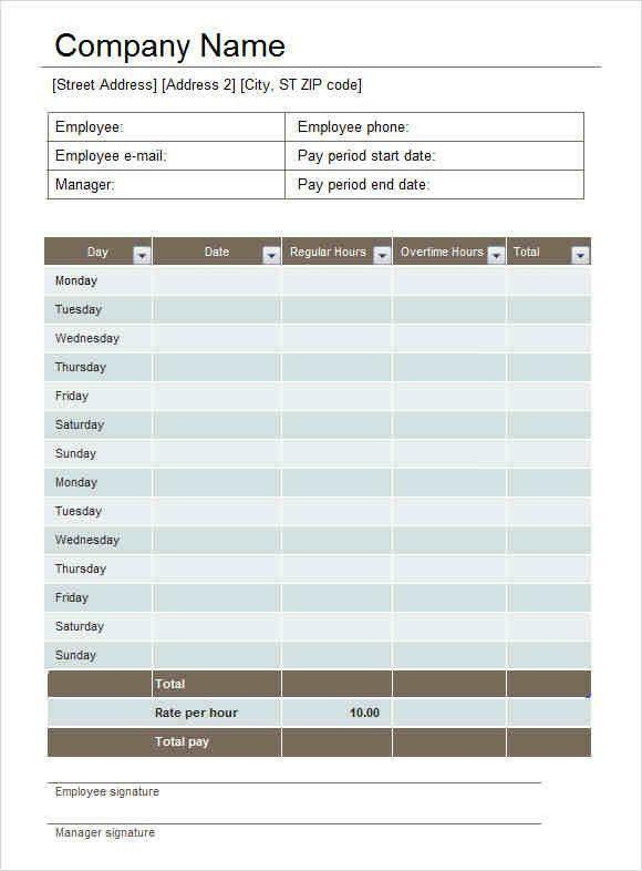 Sample Biweekly Timesheet. Time Sheet Template 06 40 Free ...