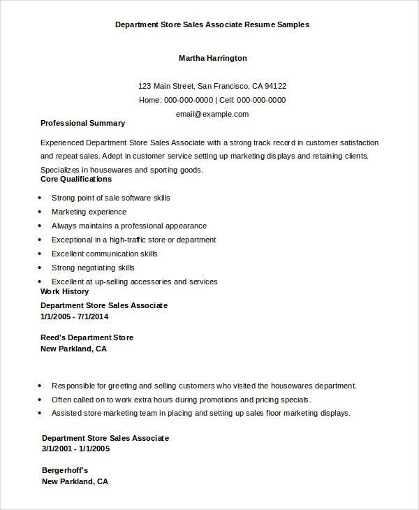 Sales Associate Resume - 7+ Free Sample, Example, Format | Free ...