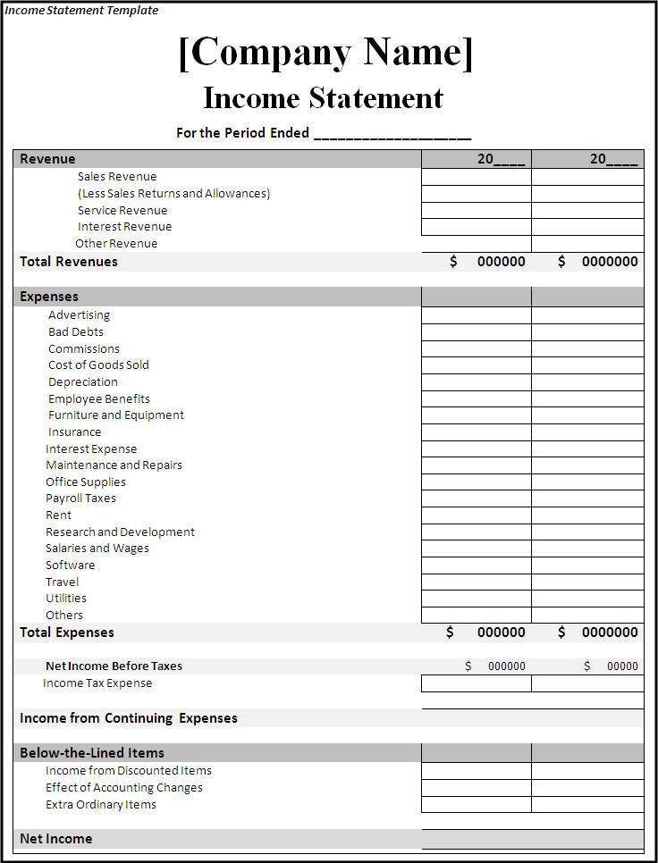 Free Income And Expense Forms Income And Expense Statement ...