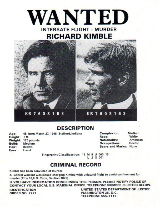 The Fugitive, Real Prop Wanted Poster, Harrison Ford - Reel Art
