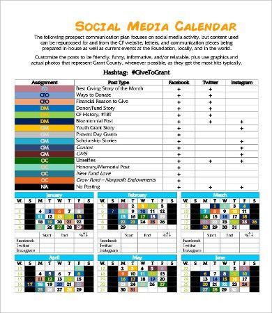 Social Media Calendar Template - 9+ Free PDF Documents Download ...