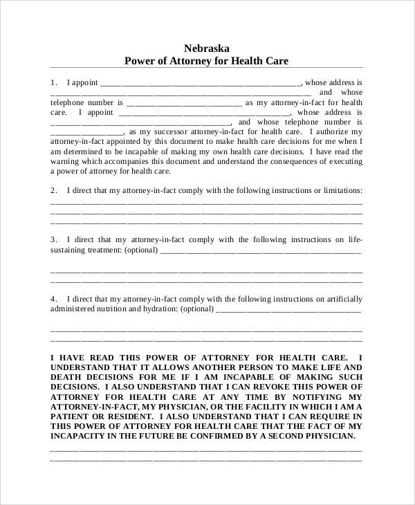 Sample Medical Power of Attorney Form - 8+ Examples in Word, PDF
