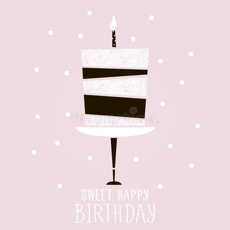 Cute Pink Cake With Happy Birthday Wish. Modern Greeting Card ...