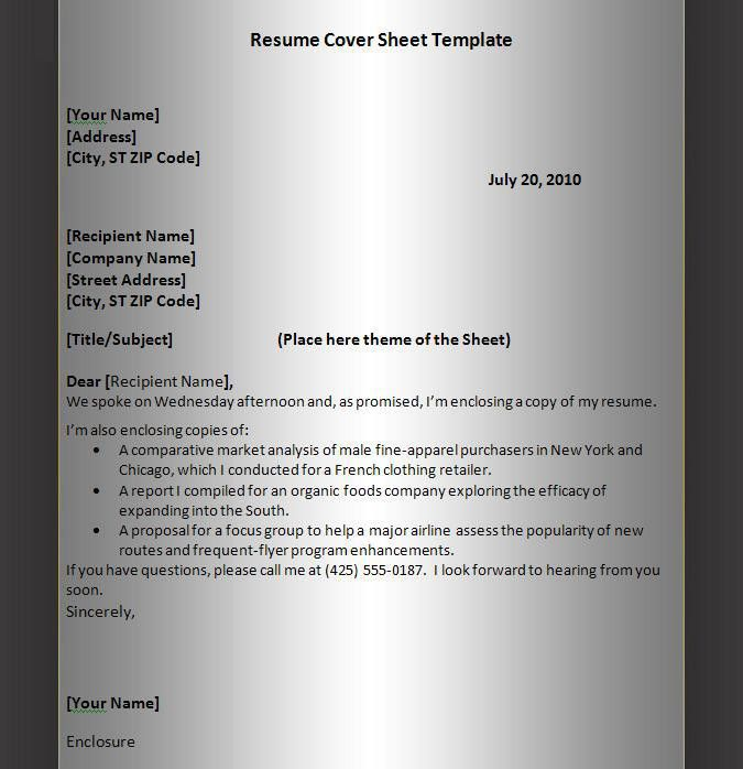 Resume Cover Sheet Example. Resume Cover Sheet Template | Graphics ...