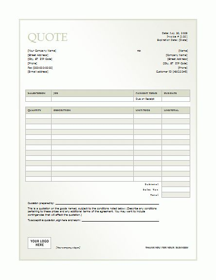 Business Quotation Template | Word Templates