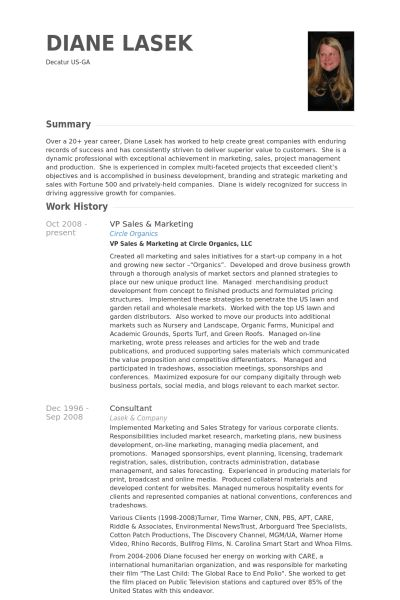 Vp Sales U0026 Marketing Resume Samples   VisualCV Resume Samples Database  Vp Marketing Resume