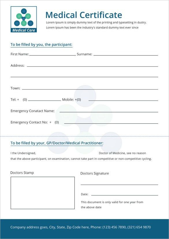 General Medical Certificate Template For Free | Free & Premium ...