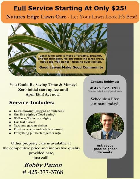 A teen's lawn care business flyer example. | Lawn Care Business ...