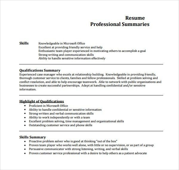 Professional Summary Example For Resume