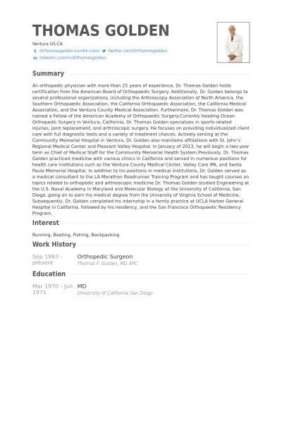 Orthopedic Surgeon Resume samples - VisualCV resume samples database