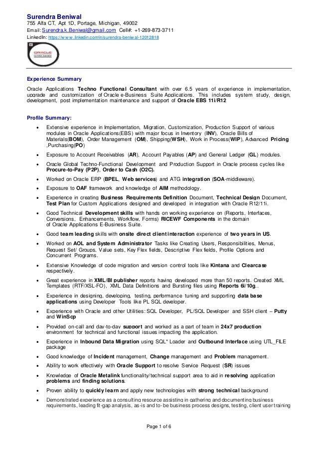 Surendra Beniwal Oracle Applications Consultant Resume