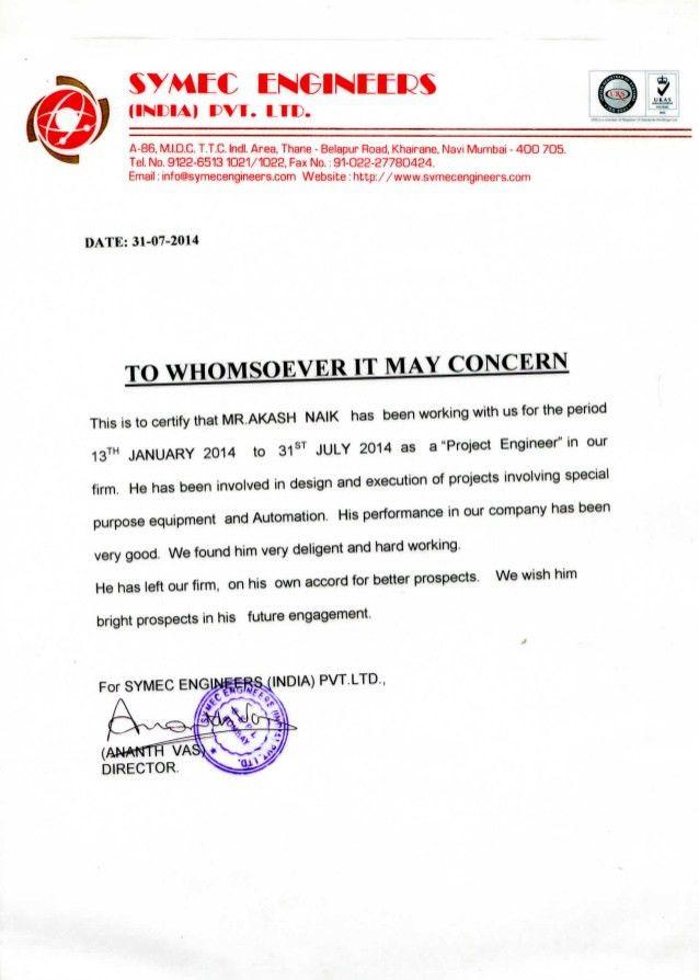 Akash_ Symec Engineer Experience Certificate