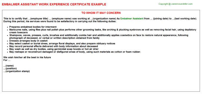 Embalmer Assistant Work Experience Certificate