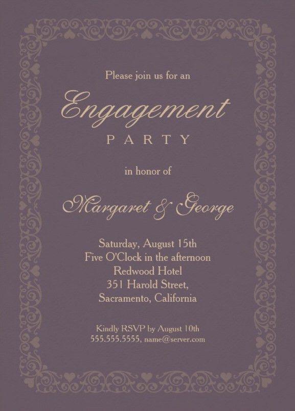 Elegant violet engagement invitation template - Customize online!