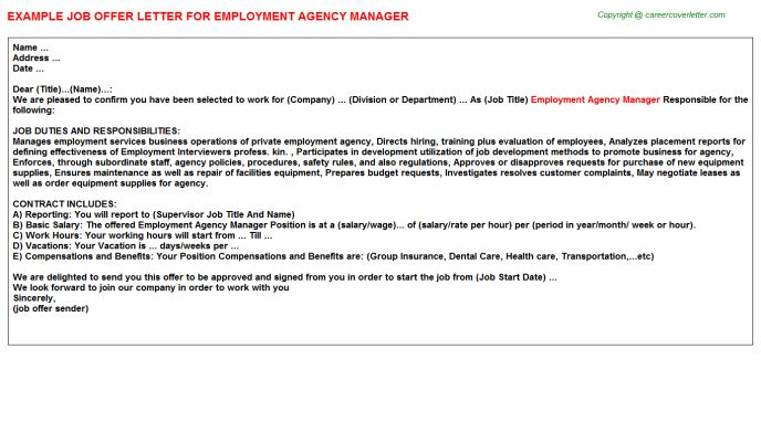 Travel Agency Manager Offer Letters