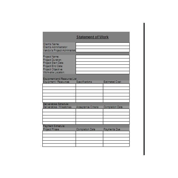 Statement Of Work Template. Sample Statement Of Work Sample ...