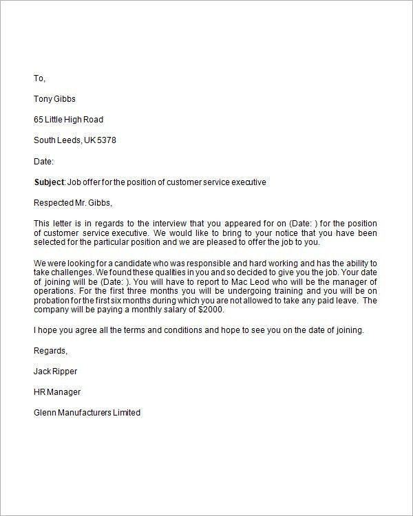 Sample Job Offer Letter - 9+ Documents in Word