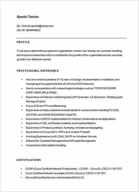 Ccna Resume 5 Perfect Ccna Resume Samples That You Should Use, 5