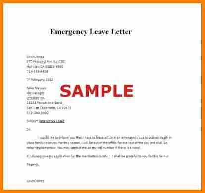 3+ emergency leave letter for personal reason | lawyer-resume