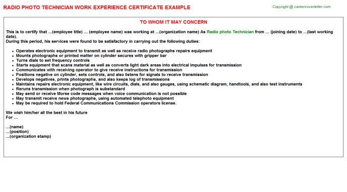 Radio Photo Technician Work Experience Certificate