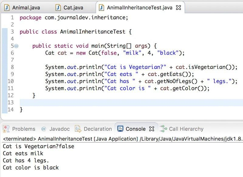 Inheritance in Java Example - JournalDev