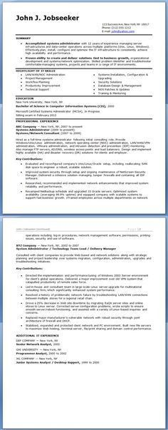 Sample Systems Administrator Resume (Experienced) | Creative ...