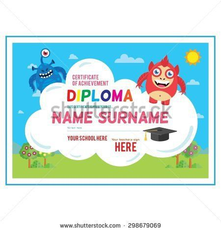 Preschool Elementary School Kids Diploma Certificate Stock Vector ...